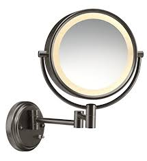 conair round shaped double sided wall mount lighted makeup mirror 1x 8x magnification