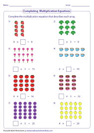 Multiplication Models WorksheetsCompleting Multiplication Sentences: Arrays