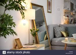 Elegant Lighting Mirrored Furniture Elegant Room Interior With Large Mirror Stock Photo