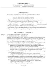 Example Resume Business Law Project Manager Chief Legal Administrative  Officer ...