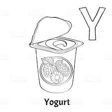 Vector Alphabet Letter Y Coloring Page Yogurt stock vector art ...