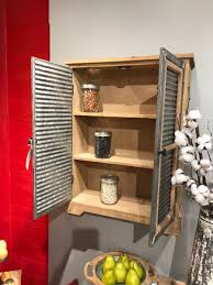 corrugated shutter wall cabinet wood and metal