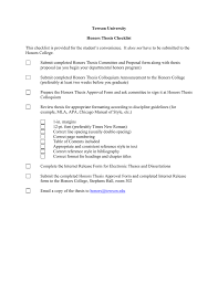 Towson University Honors Thesis Checklist Does Not