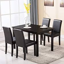4 family 5 piece dining table set 4 chairs wood kitchen dinette room breakfast furniture