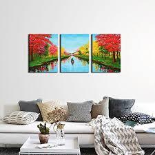 home shop home decor wall art  on framed wall art decor with joyart red trees painting 4 seasons canvas prints artwork on