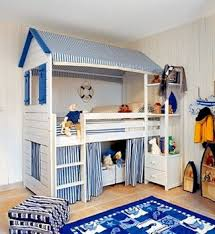 kids room loft bed with play area below