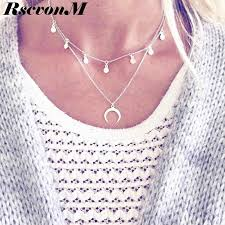 RscvonM 2018 New <b>Fashion</b> Double Horn Necklace <b>Crescent</b> Moon ...