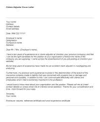 Cover Letter Insurance Claims Adjuster Cover Letter Examples