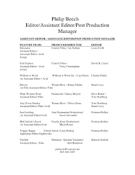 Philip Beech Editor/Assistant Editor/Post Production Manager ASSISTANT  EDITOR ...