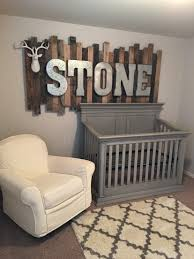 wooden baby nursery rustic furniture ideas. rustic wood pallet sign with galvanized metal letters above the babyu0027s crib minus deer head wooden baby nursery furniture ideas s