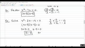 4 3 solving quadratic equations by factoring