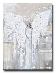 special release giclee print abstract angel painting angel of love spiritual grey blue cream decor on spiritual wall art uk with giclee print abstract angel painting modern home wall art grey cream