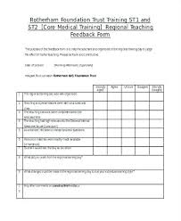 Feedback Form Word Template Training Evaluation Form Word Medical