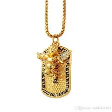 whole high quality fashion jewelry trendy 18k gold plated necklace men lovely pray angel medal pendant rock micro hip hop cool 75cm long chain ruby