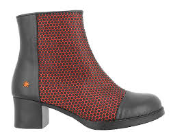 ankle boots with heel 0075 engomado black red bristol the art company