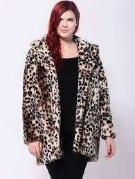 best plus size leopard print twin pockets faux fur coat