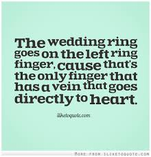 Ring Quotes Stunning The Wedding Ring Goes On The Left Ring Finger Cause That Engagement