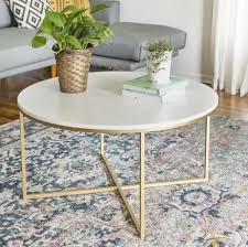 round metal coffee table living room furniture gold white mdf wood marble top