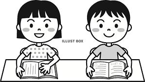 無料イラスト 夏の子供読書モノクロ