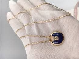 dark blue lapis lazuli cartier jewelry 18k real gold chains with pendants