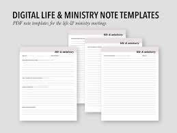 Notebook Templates Life Ministry Digital Note Templates