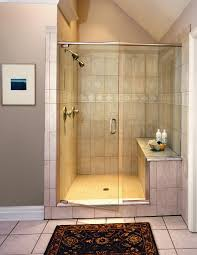 folding glass door combined with glass wall also cream tile wall feat shelf