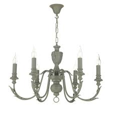 emile traditional ash grey 6 light rustic french style chandelier