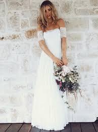 boho dresses wedding. A Line Off the Shoulder Short Sleeves Lace Boho Wedding Dress