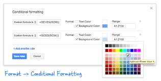 google formulas with conditional formatting