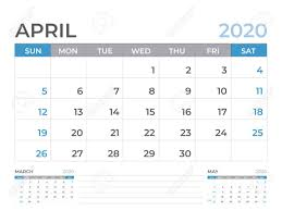 April 2020 Template April 2020 Calendar Template Desk Calendar Layout Size 8 X