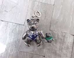 sterling silver enameled movable teddy bear holding bear pendant charm 11 g525 1898936584