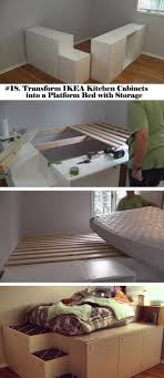 18. transform IKEA kitchen cabinets into a platform bed with storage | 25  Clever Hideaway