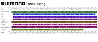 Shimano Shoe Sizing Chart Footwear Bike Shack