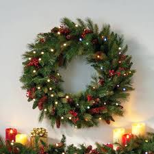 large lighted wreaths cordless lit cone berry wreath enlarge large outdoor lighted wreaths canada
