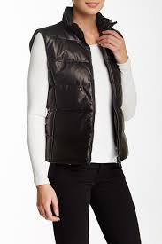 image of june leather zip genuine rabbit fur lined puffy vest