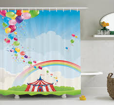 circus decor shower curtain set by circus rainbow and balloons freedom traveling cloudscape festival bathroom accessories 84 inches by ambesonne