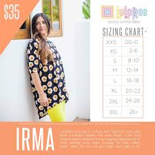 Lularoe Size Chart Lularoe Irma Sizing Chart With Price Lularoe Irma Size