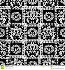Barok Naadloos Patroon Bloemen Zwart Behang Als Achtergrond Met