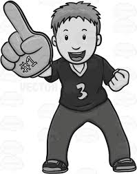 sports fan clipart. sports fan wearing a giant sign on hand clipart 3