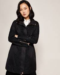 ted baker uk womens coats jackets luceen lace detail parka black