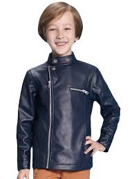 faux leather solid zip boys biker jacket