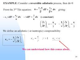 compressibility examples. example: consider a reversible adiabatic process, then ds\u003d0 from the 3 rd tds equation: giving: we define an ( or isentropic) compressibility examples