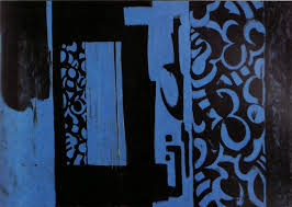 abstract painting with blue shapes on a black background a mix of large rectangular blocks