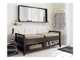 elegant entryway furniture. Elegant Entryway With Black Wood Storage Bench Rectangular Mirror Hanging Wall Frame And Furniture O