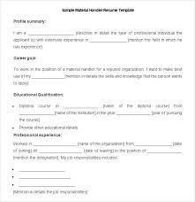 Mail Handler Resume Sample Resume For Material Handler Mail Handler Resume Material