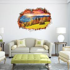 hot style popular wall stickers wholesale sunset sunrise autumn new zealand scenery window sofa sitting room adornment 3d wall stickers nursery decoration  on wall art nursery nz with hot style popular wall stickers wholesale sunset sunrise autumn new