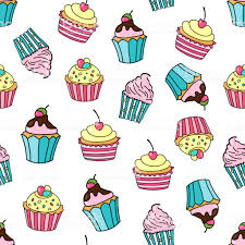Seamless Pattern With Cupcakes On A White Background Sweet Cakes