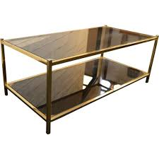 belgo chrome smoked glass and gold plated coffee table 1970s