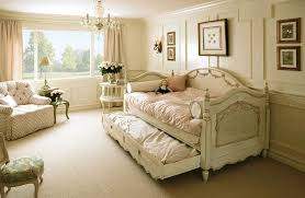 elegant cream colored furniture for shabby chic bedroom decor with crystal chandelier