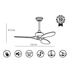 ceiling fan dc motor 132 cm solid wood blades ultra quiet klassfan arime